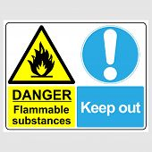 Plate: danger. Flammable Substances. Keep Out. Sign: danger. Flammable Substances. Keep Out On A poster