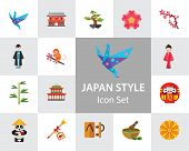 Japan Style Icon Set. Japanese Umbrella Bamboo Daruma Doll Japanese Flower Japanese Cranes Kokeshi D poster