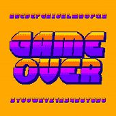 Game Over Alphabet Font. Pixel Gradient Letters And Numbers. 80s Retro Arcade Video Game Typescript. poster