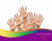Photo of raised hands  isolated on white background