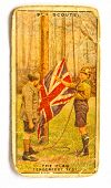 BRITISH UNION - CIRCA 1970: A Postcard printed in the British Union shows image Boy Scout Raise the