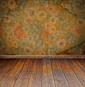 stock photo of plinth  - vintage interior with floral wallpaper - JPG