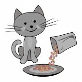 Happy Cat, Cat Feeding Concept. Owner Holds Carton Box Of Cat Food And Feeds The Cat. Vector Cartoon poster
