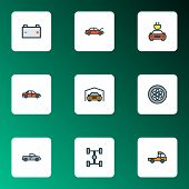 Automobile Icons Colored Line Set With Sedan, Battery, Wheelbase And Other Electric  Elements. Isola poster
