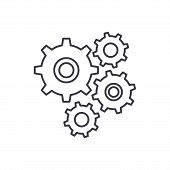 Gear Wheel Line Icon Concept. Gear Wheel Vector Linear Illustration, Symbol, Sign poster