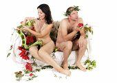 stock photo of adam eve  - kitsch adam and eve  couple  having relationship problem - JPG