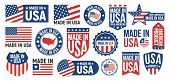 Large Set Of Made In Usa Labels, Signs. Usa Patriotic Signs. Americans Banners Templates. Vector Ill poster