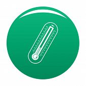 Fever Thermometer Icon. Simple Illustration Of Fever Thermometer Vector Icon For Any Design Green poster