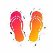 Flip-flops Sign Icon. Beach Shoes. Sand Sandals. Colorful Geometric Shapes. Gradient Sandals Icon De poster