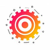 Cog Settings Sign Icon. Cogwheel Gear Mechanism Symbol. Colorful Geometric Shapes. Gradient Cog Icon poster