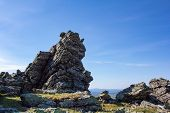 Stones Of The Northern Ural. Taiga. Large Boulders And Stone Remnants Of The Oldest Mountains On The poster