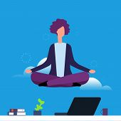 Businesswoman Doing Yoga And Meditation. Girl Hanging In Lotus Pose Over Office Desk. Woman Yoga Pos poster
