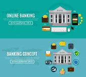 Set Of Business Web Banners For Online Banking And Banking Concepts. Modern Banners For Internet Ban poster