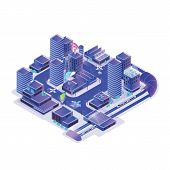 Smart City Model Isolated On White Background. Urban Area With Electronically Managing Traffic, Ener poster