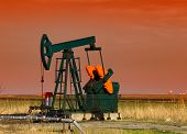 picture of nonrenewable  - pumpjack in sunset - JPG