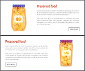 Preserved Food Banners, Fruit Jam Or Compote Set. Sweet Orange And Ripe Peach In Juice Inside Jar We poster