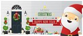 Merry Christmas And Happy New Year Background With Decorated Christmas Front Door And Santa Claus ,  poster