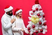 New Year, Christmas Concept. Smiling Family Couple Decorated Christmas Tree. Happy Couple Celebrate  poster