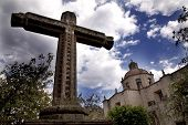 La Guadalupita Church Morelia Mexico With Stone Cross