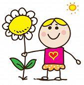 Doodle bonito menina segurando uma flor