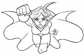 Front View Line Art Illustration Of Determined And Powerful Superheroine Wearing Cape And Costume Wh poster