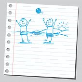 Scribble kids playing with a ball