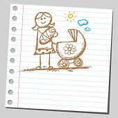 stock photo of babysitter  - Scribble mother holding baby - JPG
