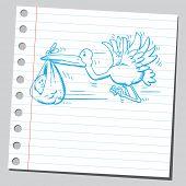 Hand gezeichnete Storch Holding baby