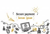 Financial Security Banking Secure Payment Concept Sketch Doodle Horizontal Isolated Copy Space poster