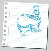 Garabato estilo ilustración de un pianista