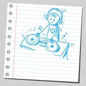 Scribble style illustration of a DJ