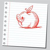 Scribble style illustration of a worm in apple