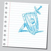 Sketch style vector illustration of a sword and shield