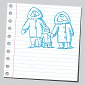 Sketch style vector illustration of an Eskimo family