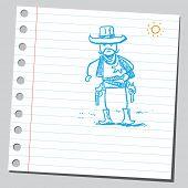 Ilustração do estilo de desenho de um xerife