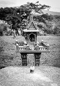 Spirit House In Thailand / Monochrome Joss House Spirit House Outdoor ( Thai Call San Phra Phum) poster