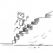 picture of upstairs  - Sketch style illustration of a child running upstairs - JPG