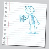 Sketch style illustration of a sad drunk man