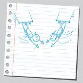 skizzenhafte Darstellung der ein zwei Zirkus Akrobaten