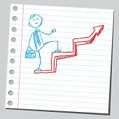 Sketchy illustration of a businessman climbing