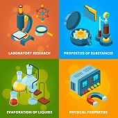 Science Equipment. Chemistry Testing Research Laboratory School Class Lab Vector Isometric Concept P poster