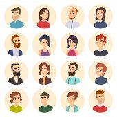 Business Avatars. Colored Web Pictures Of Male And Females Office Managers Vector Portraits In Carto poster