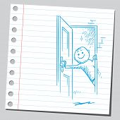 pic of open door  - Drawing of a man opening the door - JPG