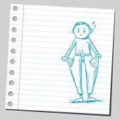 Engraçado desenho de um homem com os bolsos vazios