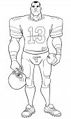 Full Length Front View Of A Determined And Competitive American Football Player Standing Ready For T poster