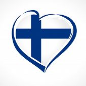 Love Finland Emblem With Heart In National Flag Colors. National Holiday In Finland 6 December 1917, poster