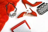 Top View To Female Party Evening Outfit Red Dress Shoes Accessories Jewelry Clutch Fashionable Neckl poster