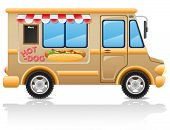 Car Hot Dog Fast Food Vector Illustration