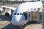 JOHANNESBURG - APRIL 18: Biggest civil aircraft of the world, Airbus A380 disembarking passengers af