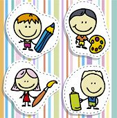 Icon set of doodle happy children with pen, pencil and paintbrush